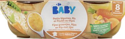 Petits légumes, Riz et Poulet au thym avec petits morceaux - Product - fr
