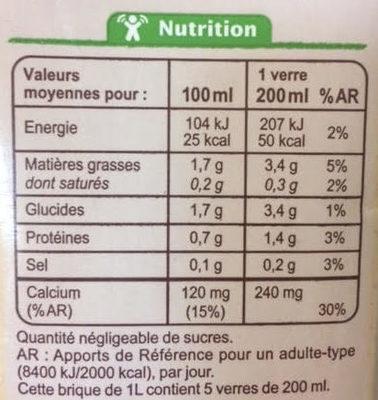 Boisson Douceur d'Amande - Informations nutritionnelles
