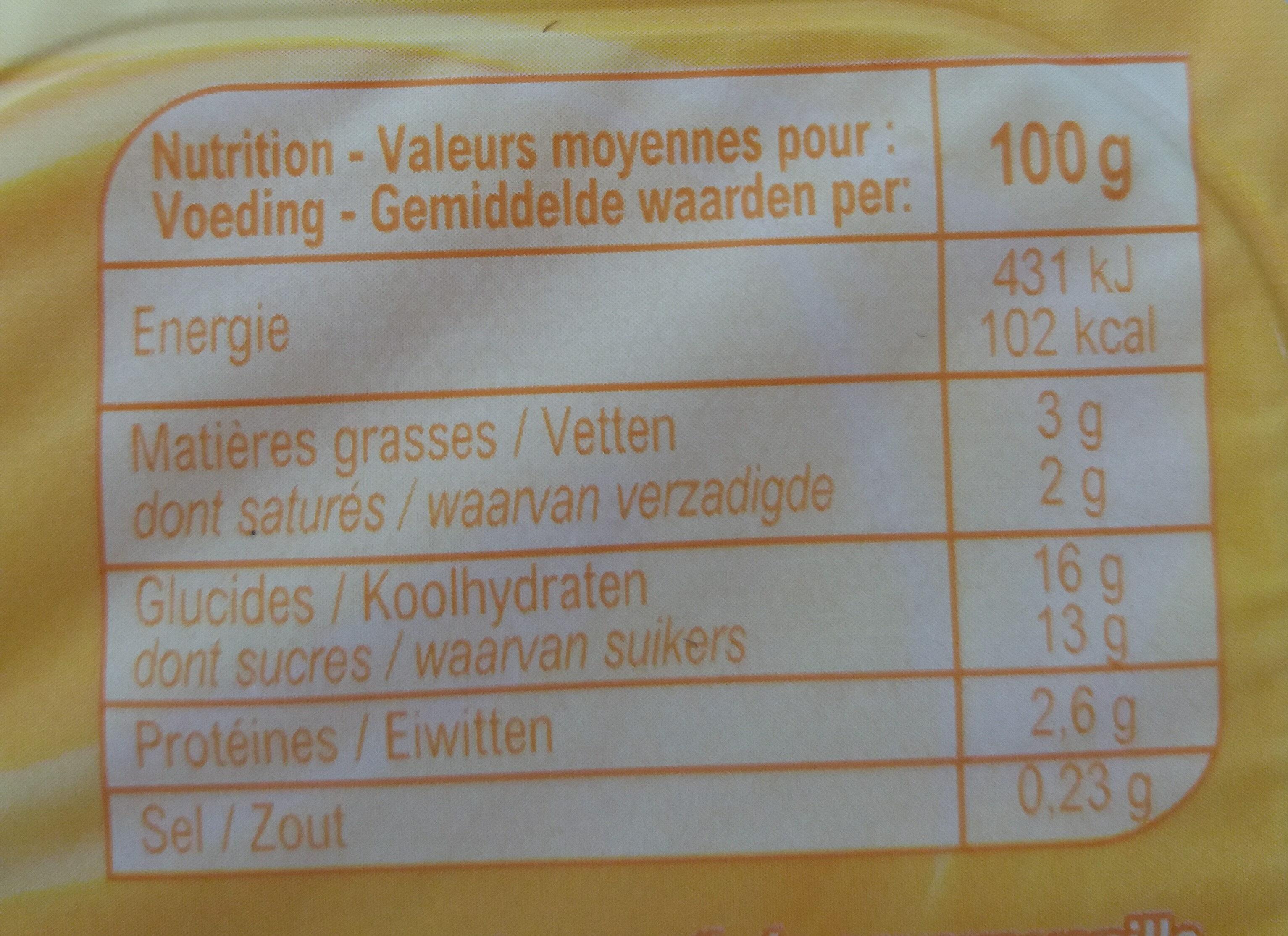 Pudding Vanillesmaak - Voedingswaarden