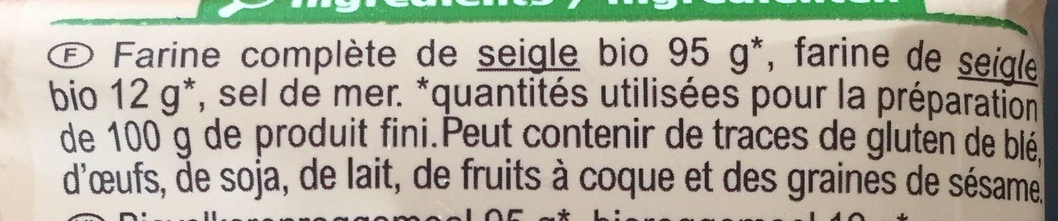 Tartines croustillantes au Seigle - Ingrediënten - fr