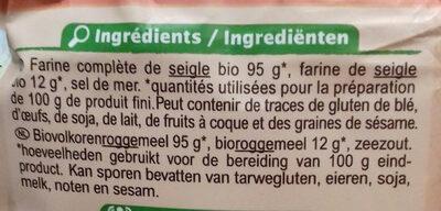 Tartines croustillantes au Seigle - Ingredients - fr