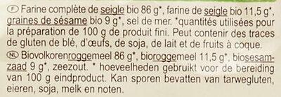 Tartines au seigle et graines de sésame - Ingredienti - fr