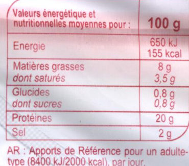 Jambon Supérieur avec couenne - Informations nutritionnelles