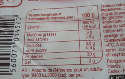 jambon - Informations nutritionnelles - fr