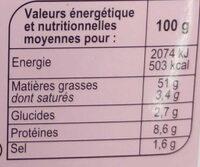 Tarama Premium - Informations nutritionnelles - fr