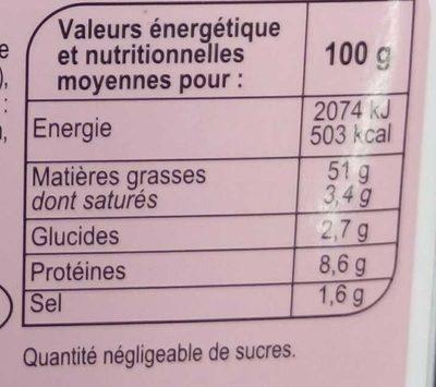 Tarama Premium aux oeufs de cabillaud - Informations nutritionnelles