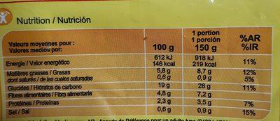 Pommes à dipper - Informació nutricional