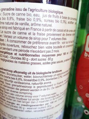 Sirop de grenadine - Informations nutritionnelles