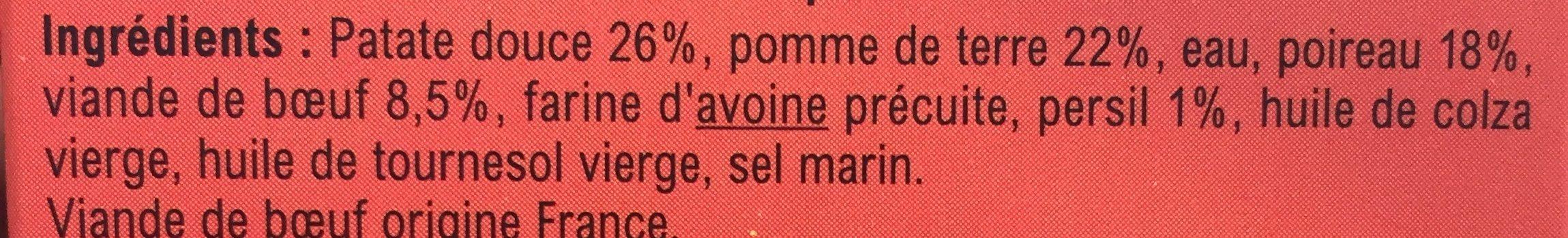 Fine purée de Patate douce, Pomme de Terre, Poireaux, Bœuf, Persil - Ingrediënten