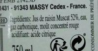 Kieffer Rosé Sans Alcool 75cl - Ingrédients - fr