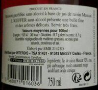 Kieffer Rosé Sans Alcool 75cl - Informations nutritionnelles - fr