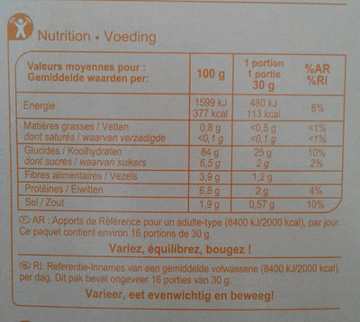 Corn Flakes - Nutrition facts - fr