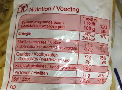 Macaroni - Valori nutrizionali - fr