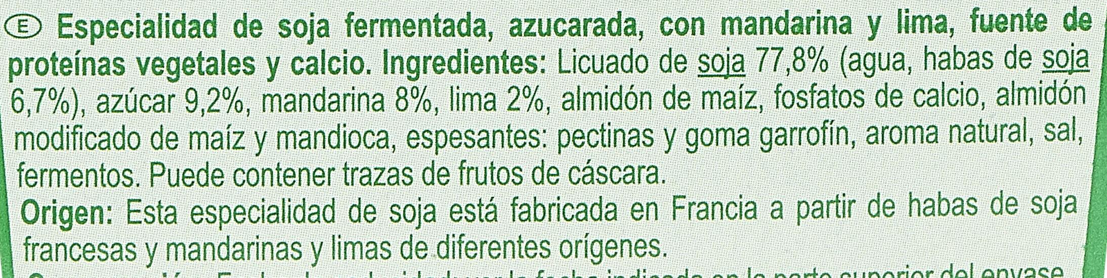 Soja mandarine - citron vert - Ingredientes - es