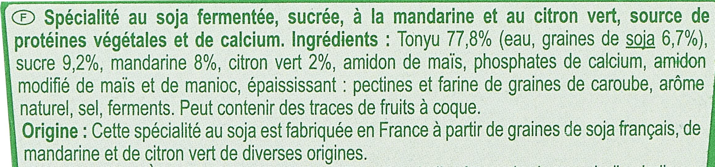 Sojamandarine - citron vert - Ingredients