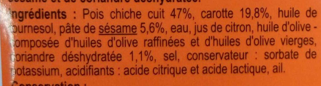 Houmous carotte et coriandre - Ingredienti - fr