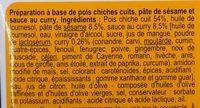 Houmous au curry - Ingredients