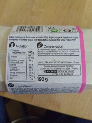 Speck poivron rouge et roquette wrap - Nutrition facts - fr