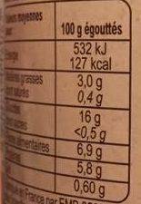 Pois chiches au sel de Noirmoutier - Información nutricional - fr
