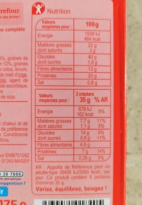Crackers fins - Nutrition facts - fr