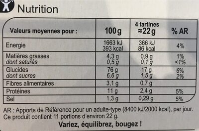 Tartine au froment - Nutrition facts - fr