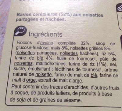 barre céréales noisette - Ingredienti - fr