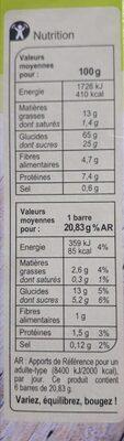barre céréales noisette - Informazioni nutrizionali - fr