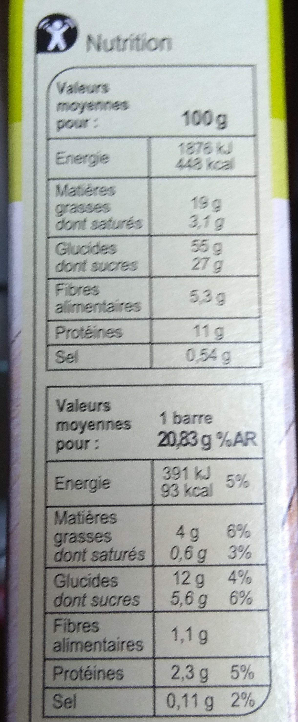 Barres cerealieres 4 cereales - Información nutricional - fr