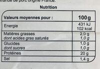 Jambon supérieur sans couenne - Nutrition facts - fr