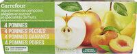 4 Pomme 4 Pomme Pêche 4 Pomme Banane 4 Pomme Poire  Assortiment de 8 compotes allégées en sucres* et de 8 spécialités de fruits * 30% de sucres en moins par rapport à une compote classique - Product