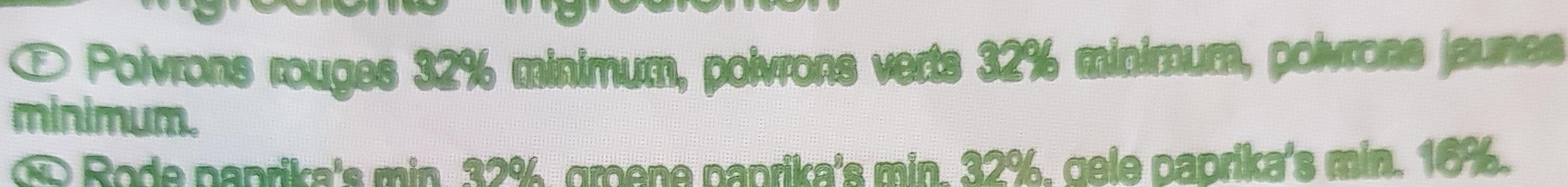Poivrons en lanières - Ingredients