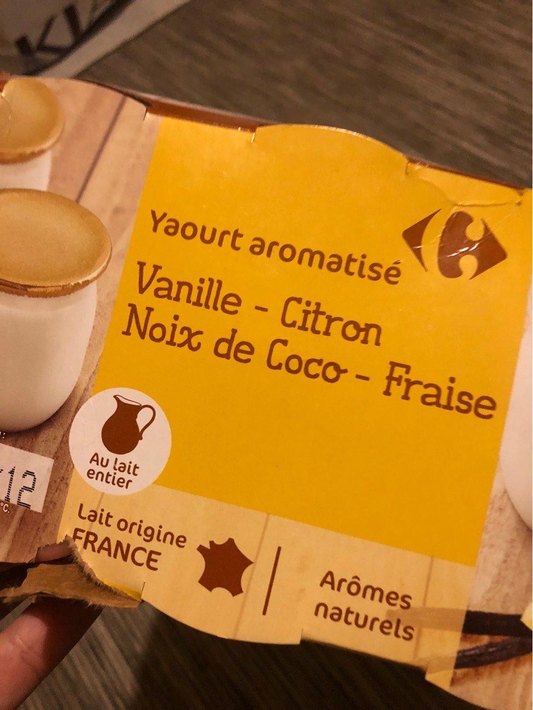 Yaourt vanille, citron, coco, fraise - Produit - fr