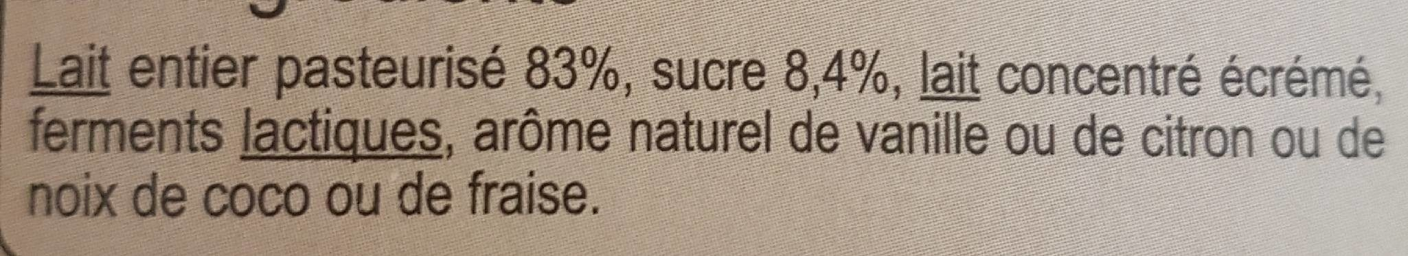Yaourt vanille, citron, coco, fraise - Ingrédients - fr