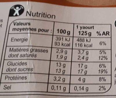 Yaourt vanille, citron, coco, fraise - Informations nutritionnelles - fr