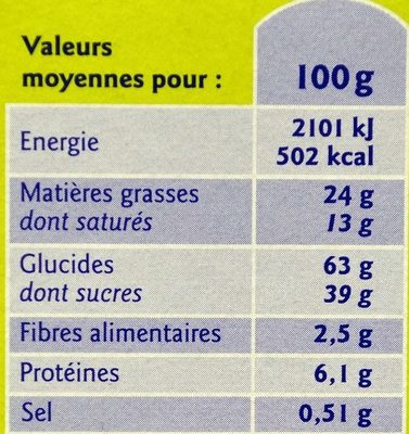 Fins Biscuits Pâtissiers - Nutrition facts
