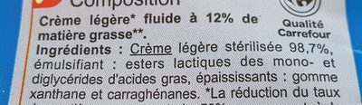 Crème légère Fluide - Ingredients