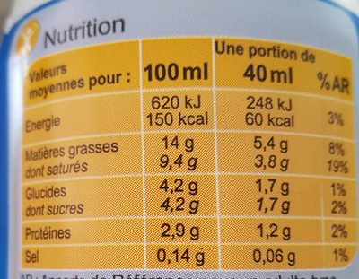 Crème légère Fluide - Nutrition facts