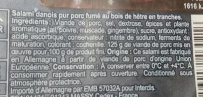 Salami Danois Fumé - Ingredients