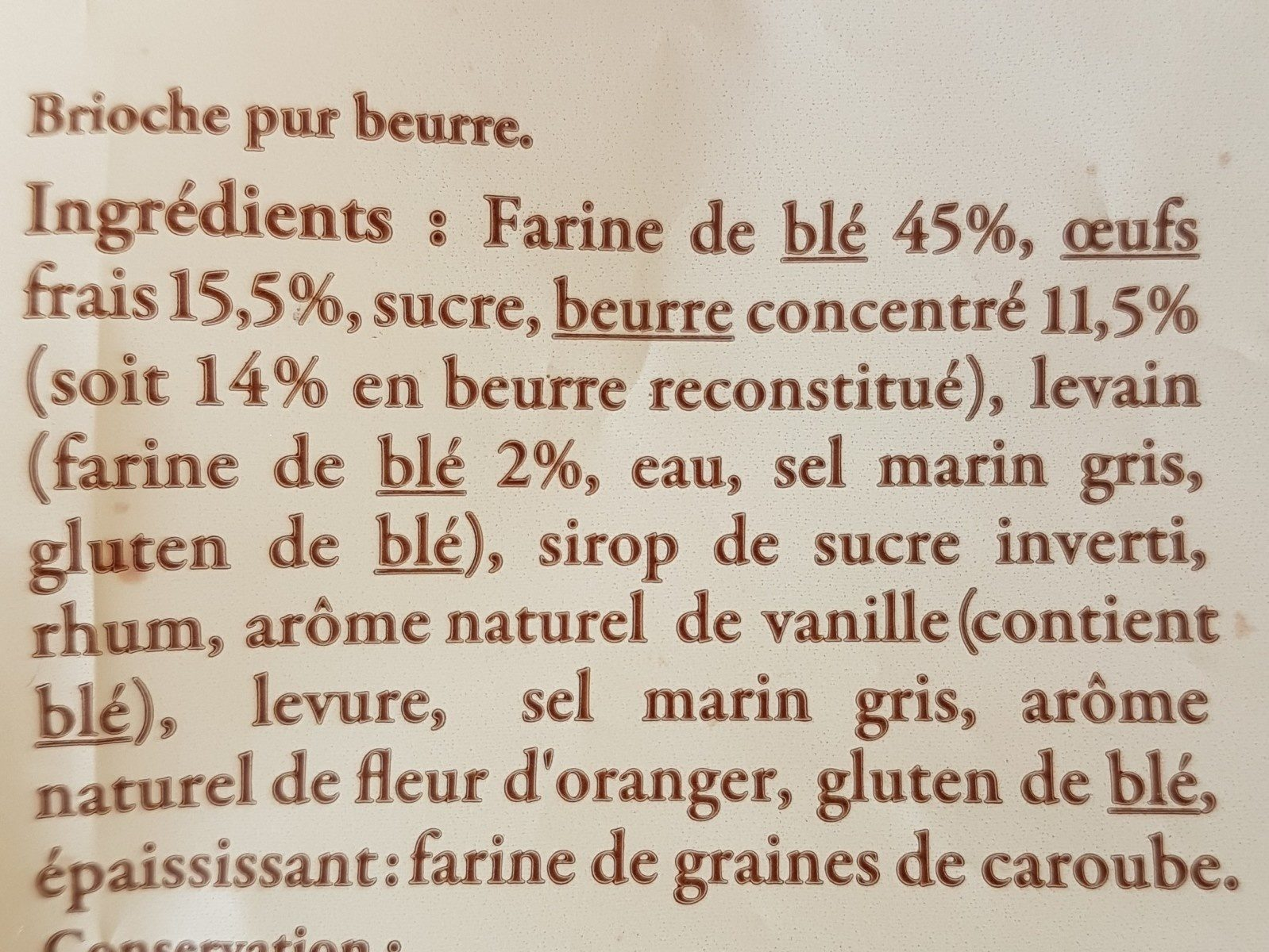 Brioche vendéenne I.G.P. - Ingrédients - fr