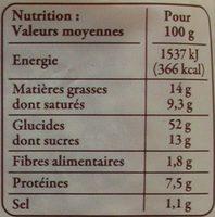 Brioche vendéenne I.G.P. - Informations nutritionnelles - fr