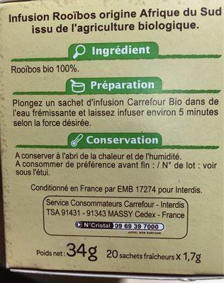 Infusion bio rooïbos Bio - Voedingswaarden - fr
