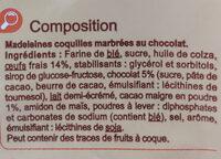 Madeleines Coquilles Marbrées au chocolat - Ingrédients