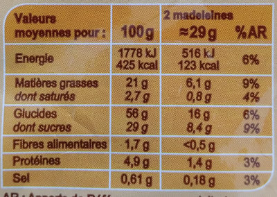 Madeleines Coquilles Marbrées au chocolat - Nutrition facts