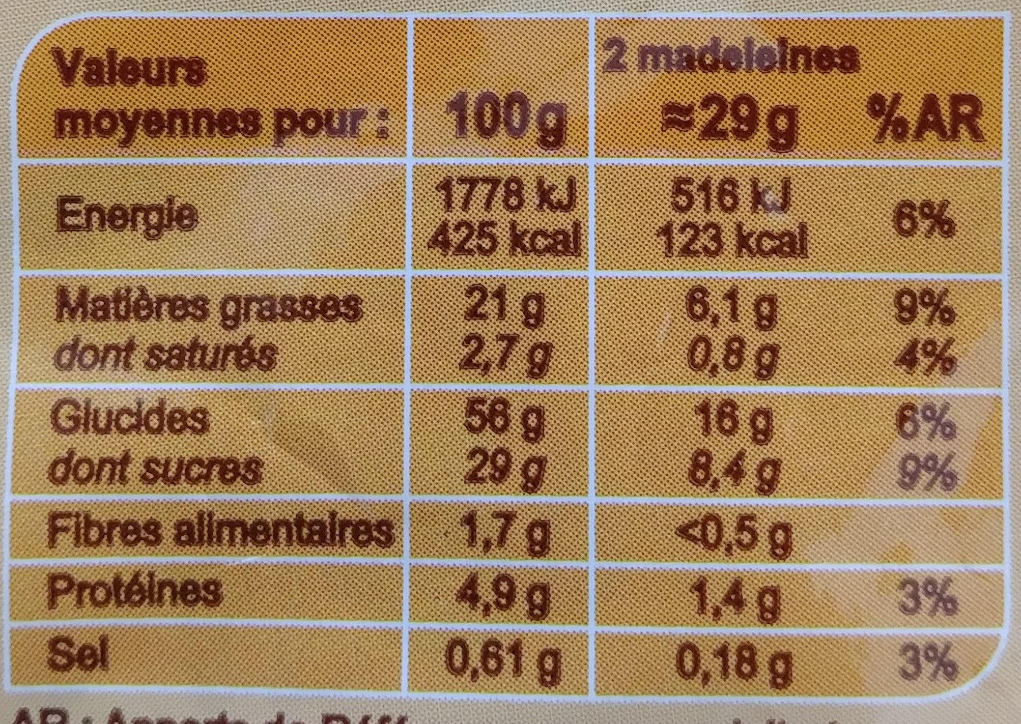 Madeleines Coquilles Marbrées au chocolat - Informations nutritionnelles