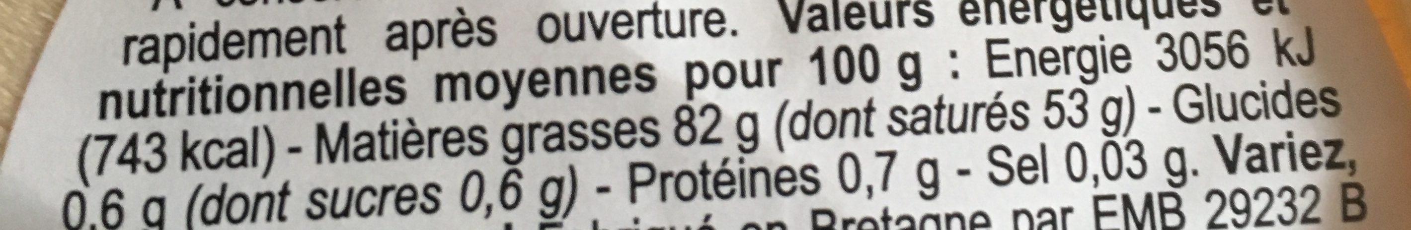 Beurre de baratte doux - Voedingswaarden - fr