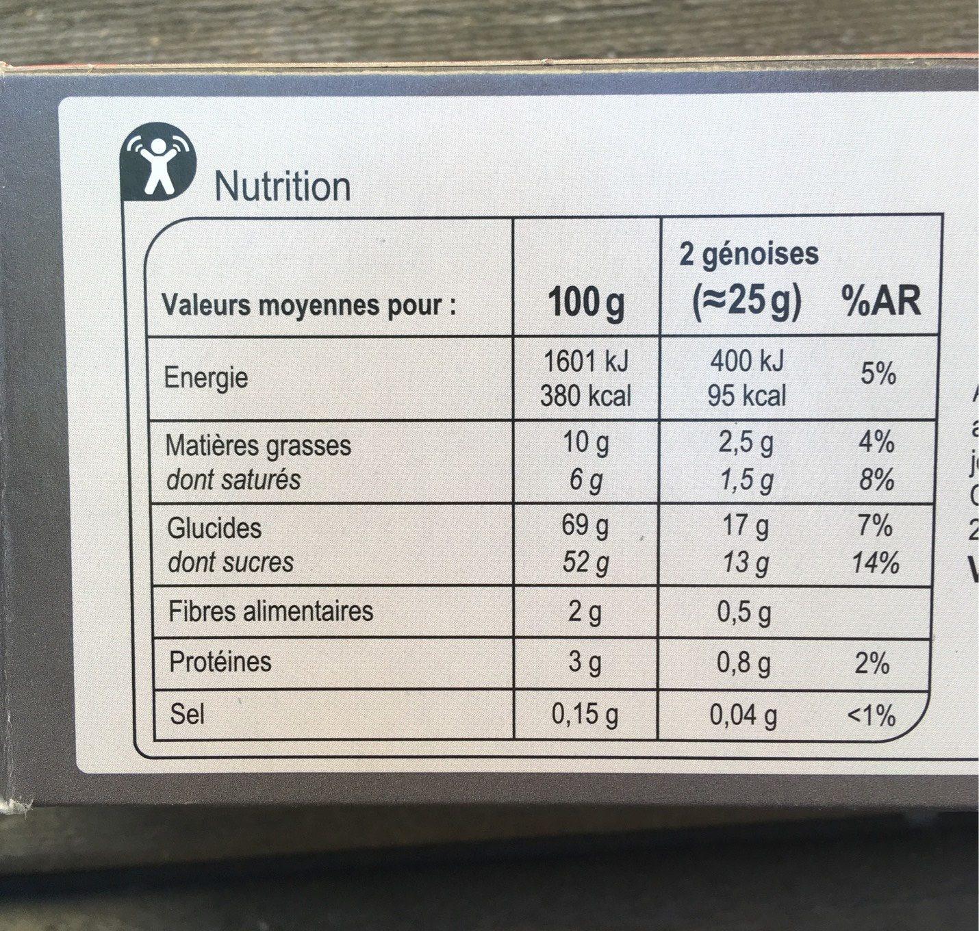 Gâteaux cœur framboise chocolat noir - Nutrition facts