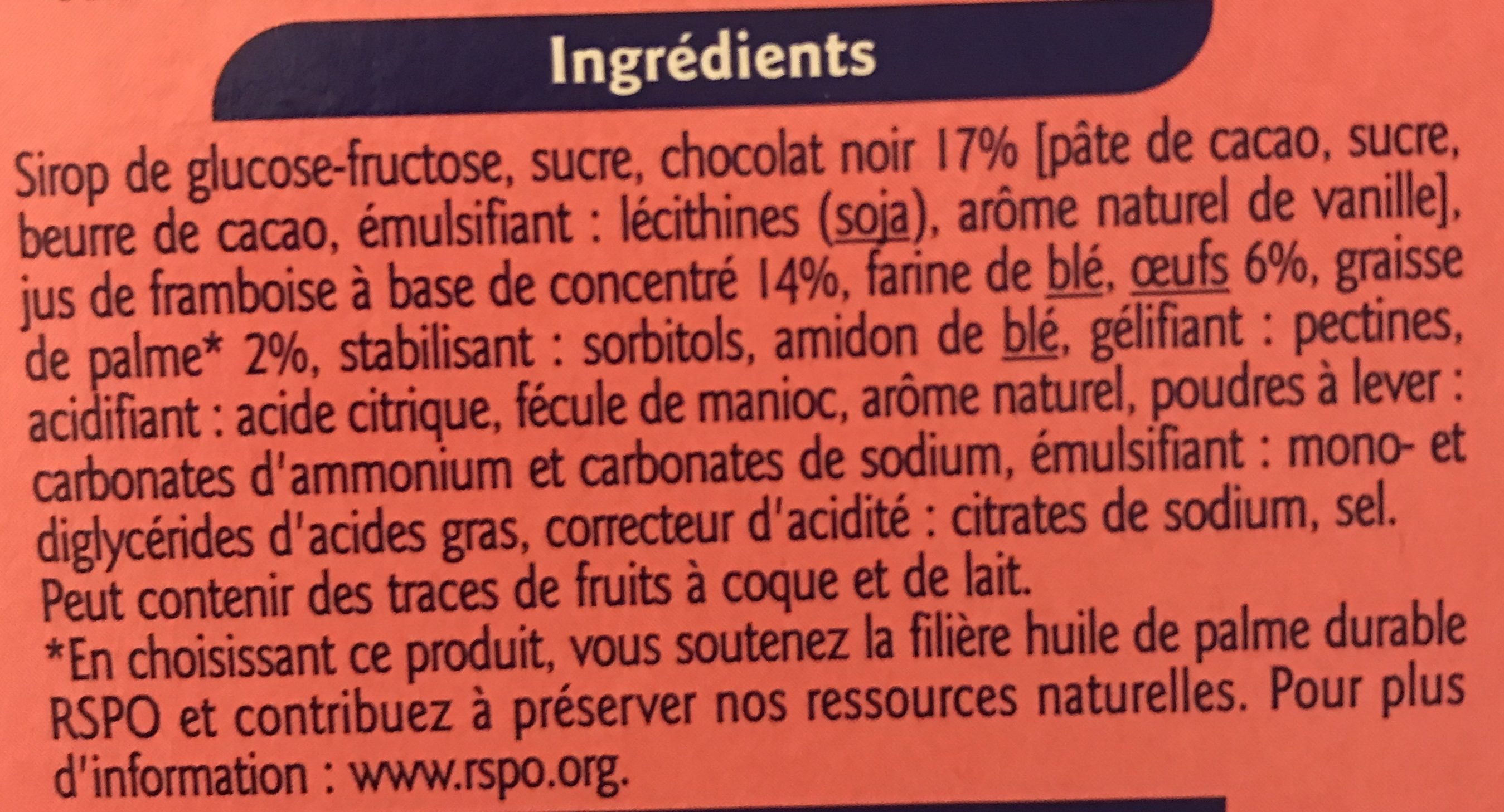 Génoises coeur à la famboise nappage chocolat noir - Ingredients