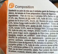 Sandwich chevre tomate & legumeq grilles - Ingredients