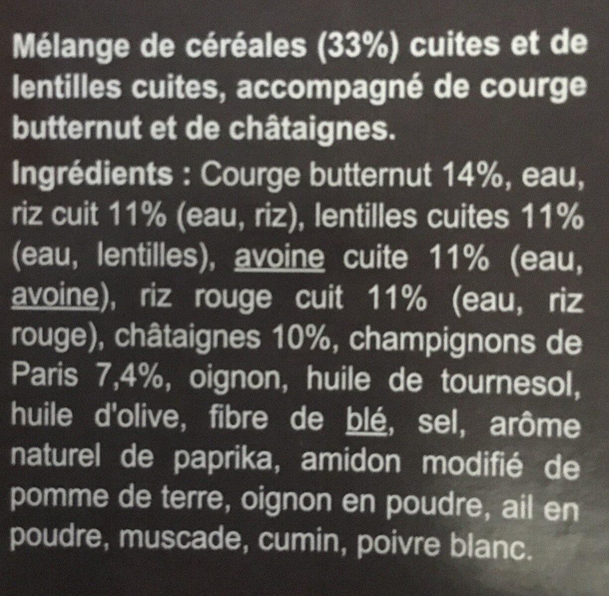 Mélange de céréales et lentilles Butternut et châtaignes - Inhaltsstoffe - fr