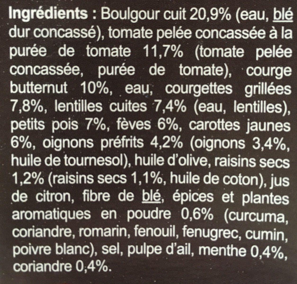 Boulgour  Butternut et fève à l'orientale - Ingrédients